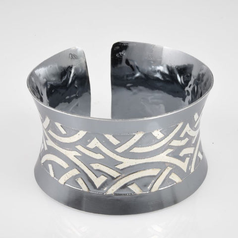 C148.32bs Wide Sterling Silver Cuffs, 92.5 SS, hand-formed, Art Deco etching & Black Pearl patina