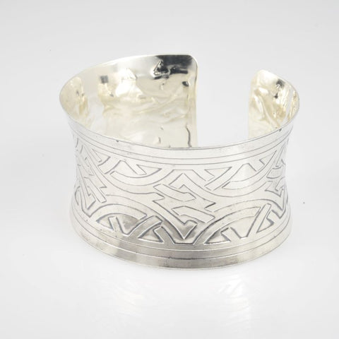 C148.30bs Wide Sterling Silver Cuffs, 92.5 SS, hand-formed, Art Deco etching