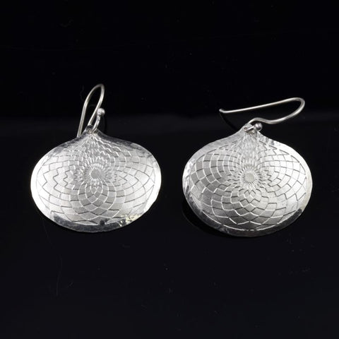 CHECKING OUT!  Etched Sterling Silver Teardrop Earrings E130.2