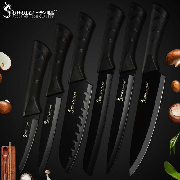 Kitchen Knives Accessories Tool Black Blade Stainless