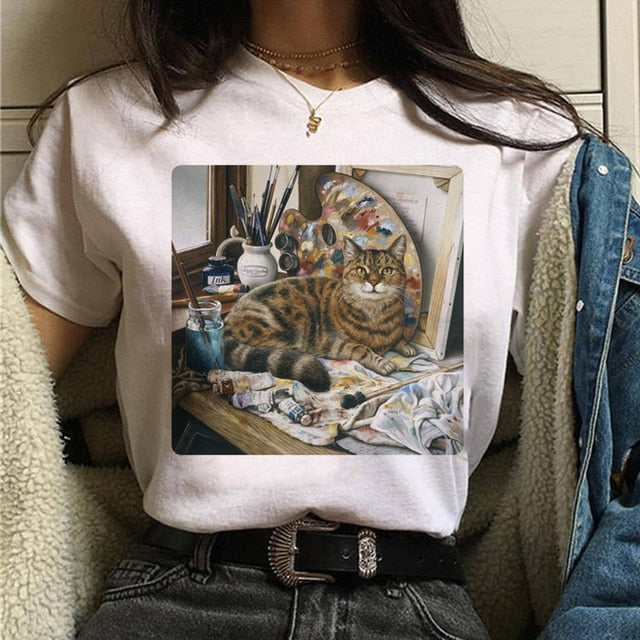 cat van gogh t shirt women art print