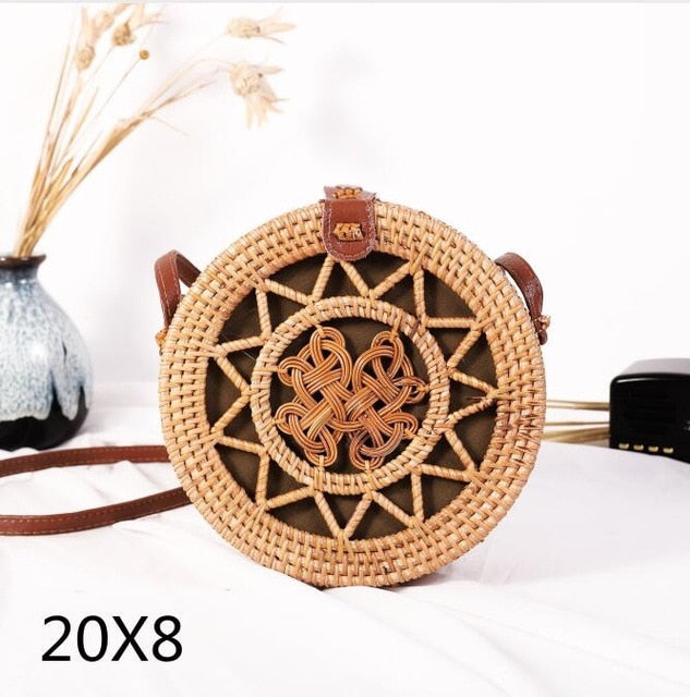 Woven Rattan Bag Round Straw Shoulder Bag