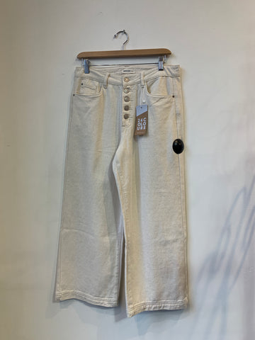 24 Colours Cream Denim Pants