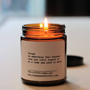"Zach Whitman Poetry Collection- ""Change"" Candle"