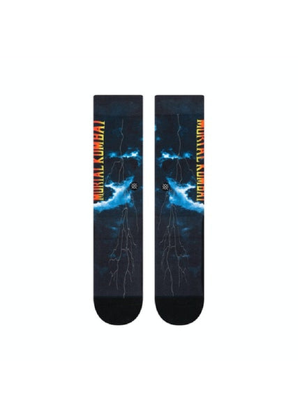 Mortal Kombat Stance Anthem socks, size large, flat view.