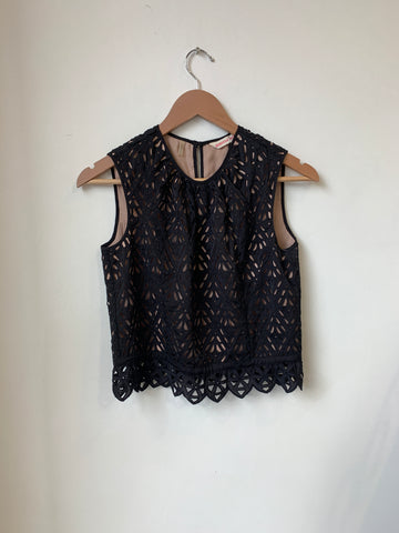 Rebecca Taylor Black Lace Top