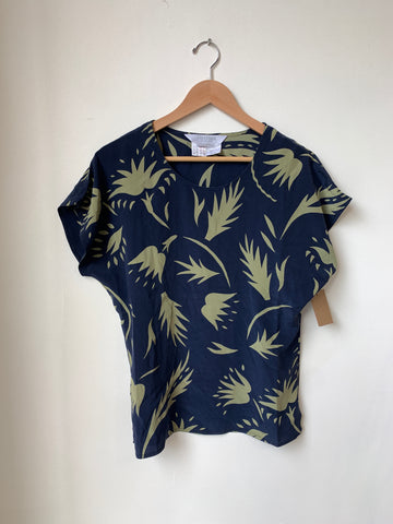 Max Mara Short Sleeve Silk Floral Top