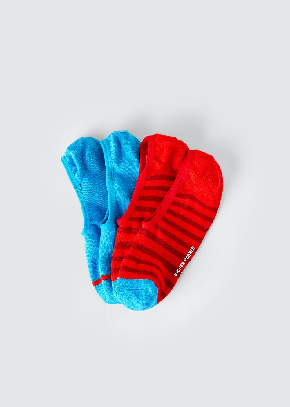 Richer Poorer no-show red/blue socks, 2-pack.
