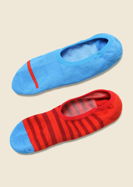 Richer Poorer no-show red/blue socks, 2-pack, flat view.