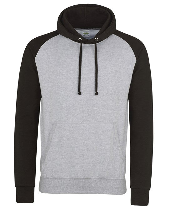 AWDis Baseball Hoodie Adults - Heather Grey/Jet Black - JH009