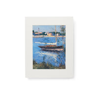 Boat Moored On The Seine Print