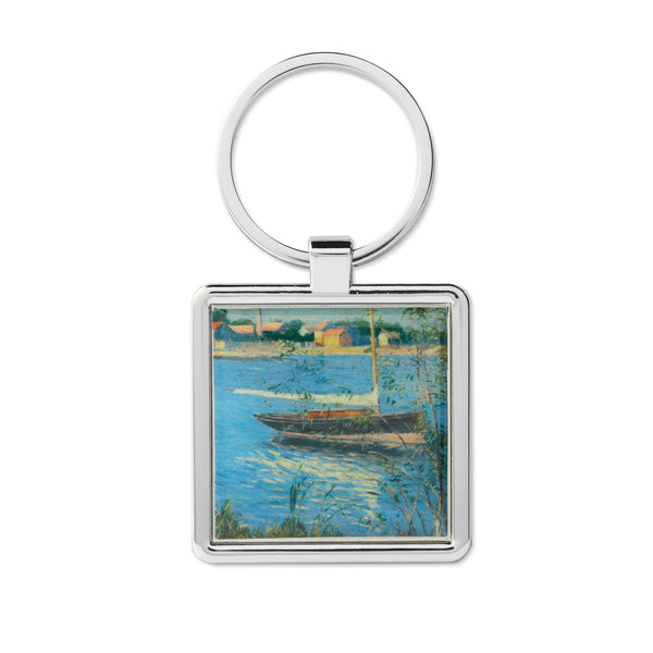 Boat Moored on the Seine Keychain