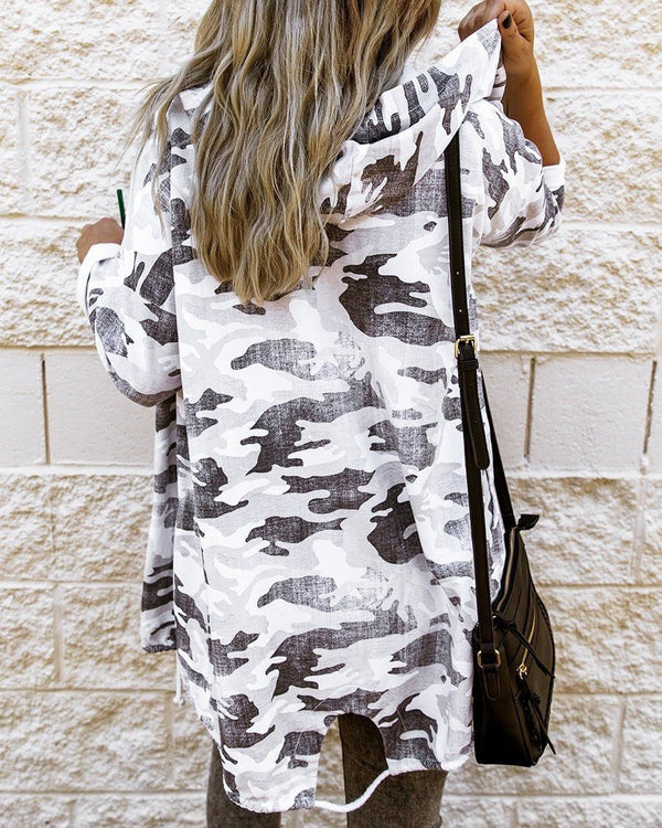 Camo Print Hooded Open Cardigan