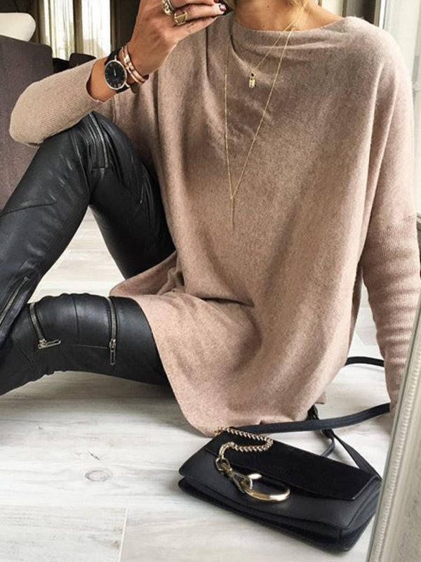 Long Sleeve Cotton-Blend Sweater