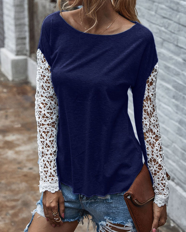 Crew Neck Hollow Out Top (3 Colors)
