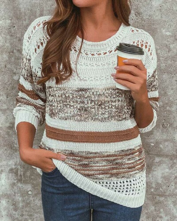 Cut Out Multi-Colored Striped Casual Sweater(6 Colors)