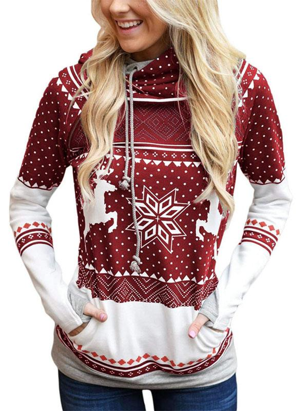 Women's Christmas Print Zipper Pocket Hooded With Leaky FingerRed