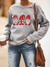 WOMEN'S CASUAL LOOSE CHRISTMAS 3 SANTA PRINT CREW NECK PULLOVER SWEATER