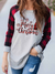 WOMEN'S MERRY CHRISTMAS PLAID LONG SLEEVE TOP
