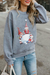 LADIES CHRISTMAS LITTLE MAN SNOWBALL PRINT LONG SLEEVE ROUND NECK SWEATSHIRT