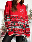 Women's Christmas Print Long Sleeve Pullover Sweatshirt