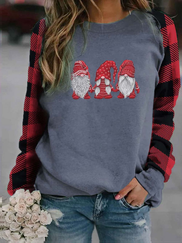 Women's Scandinavian Christmas Gnomes Print Plaid Sweatshirt