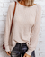 Waffle Solid Color Cutting Line Decorated Sweater