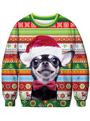 Women's Christmas Dog Printed Sweater  white/pink/red/green,4size