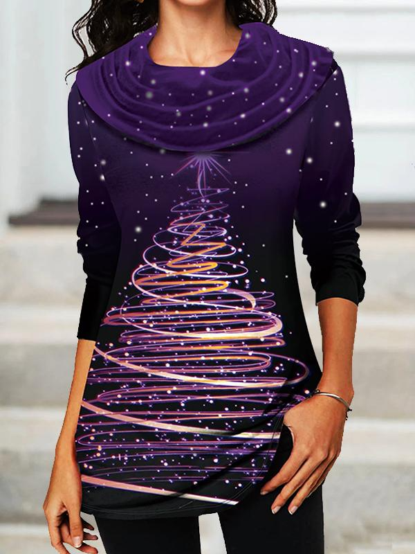 CHRISTMAS TREE PRINTED COWL NECK SHIRT