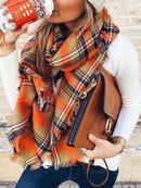 Woman's Happy Fall Plaid Pattern Scarf