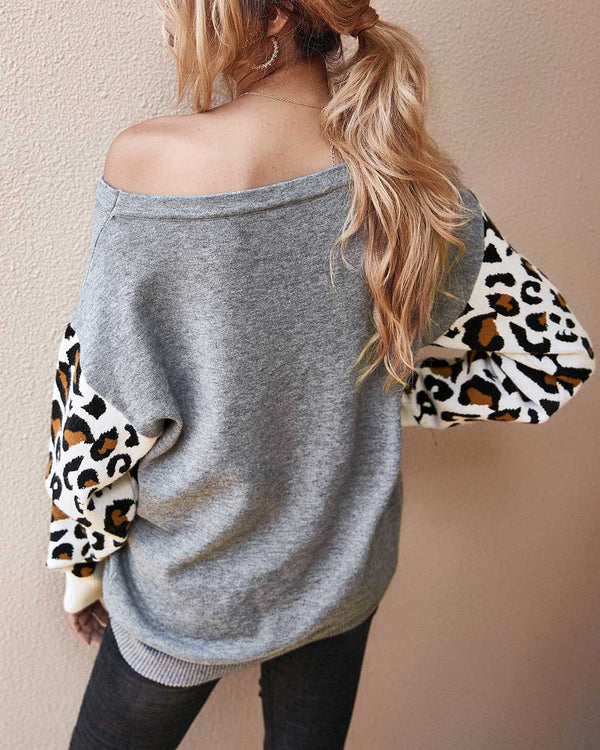 Leopard Sleeves Patchwork Sweater (4 Colors)