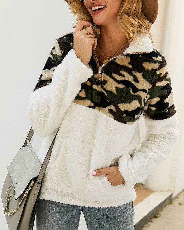 Camo Sherpa Zip Pullover(3 Colors)