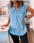Button Closure Sleeveless Denim Blouse(Buy 2 Get Freeshipping)