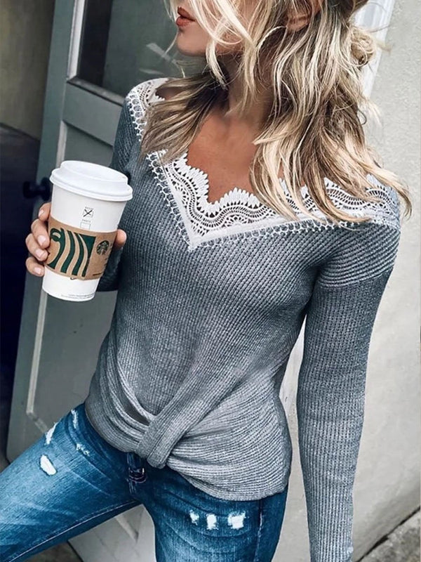 V Neck Lace Patchwork Grey Sweater For Lady