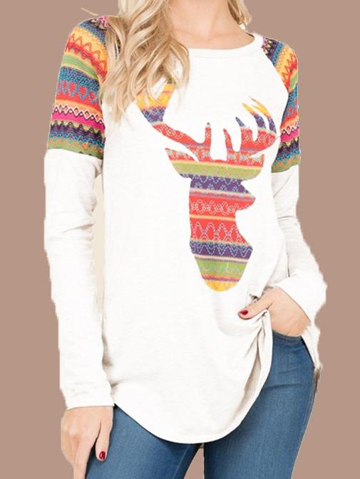 CHRISTMAS LONG SLEEVED ROUND NECK ELK PRINT T-SHIRT