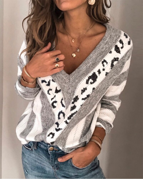 Leopard Print Colorblock Stitching Casual Sweater(3 Colors)