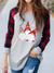 WOMEN'S SCANDINAVIAN CHRISTMAS GNOME PRINT CASUAL TOP