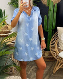 Lapel Neck Star Print Denim Dress