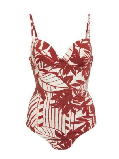 Red One-Piece Swimsuit V-neck Floral Print