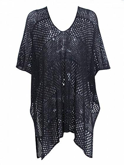 Black Ribbed V-neck Split Side Sheer Mesh Blouse