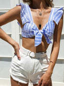 Blue Stripe V-neck Tie Front Ruffle Sleeve Crop Top