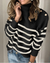 Striped Pattern Button Decorated Casual Sweater(4 Colors)