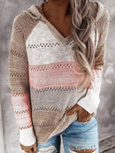 Multicolor Stitching Hooded V-neck Sweater