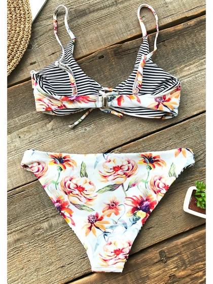 Polychrome Bikini Set Floral Print Eyelet Lace Up Front