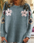 Floral Embroider Bead Decorated Soft Casual Sweater