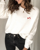 Sweet Heart Pattern Soft Casual Sweater