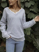 Plus Size V neck Knitted Long Sleeve Casual Sweater