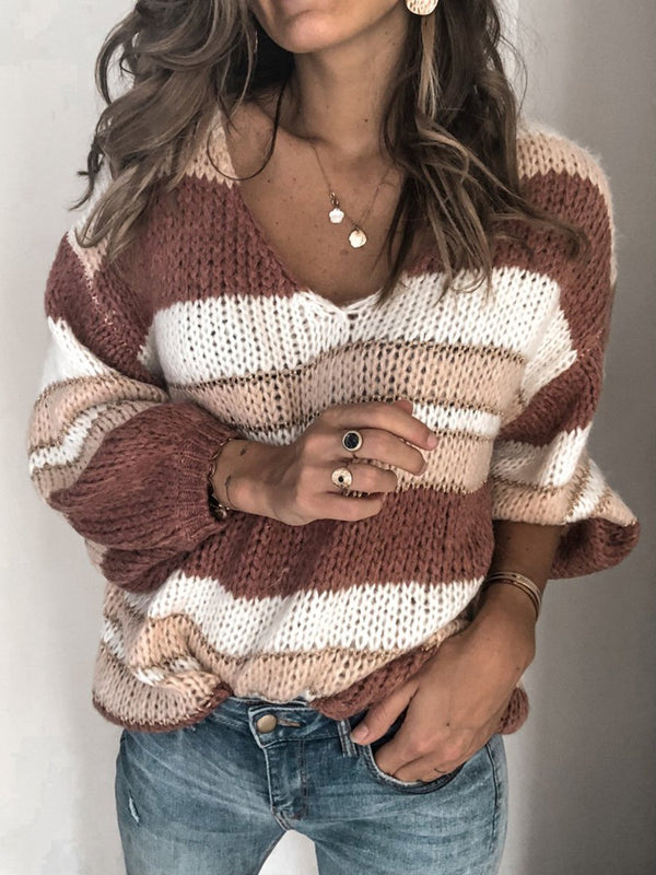 V Neck Color-Block Striped Casual Lady's Sweaters