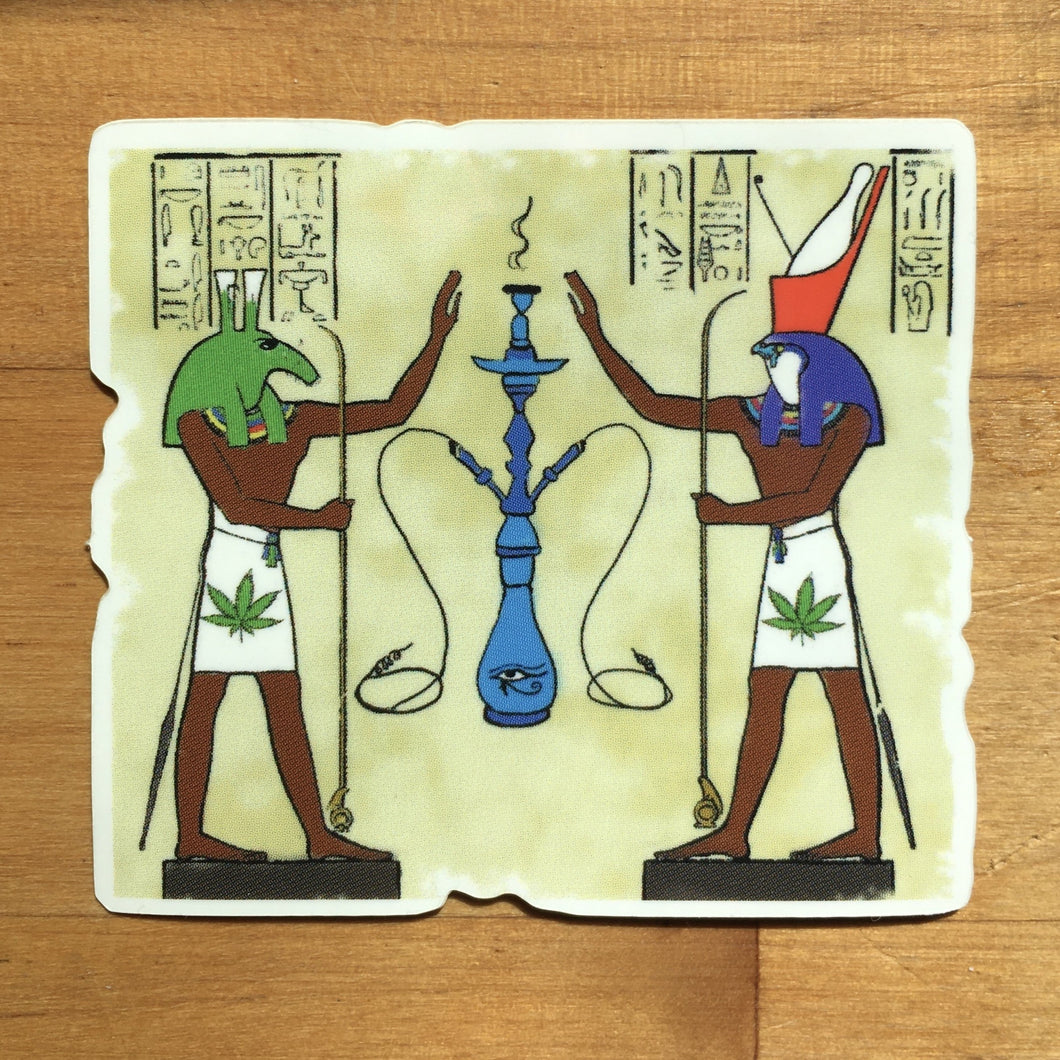 Ancient Egyptian Cannabis Gods Sticker