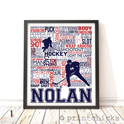Hockey Player and Goalie Personalized Print - PrintChicks